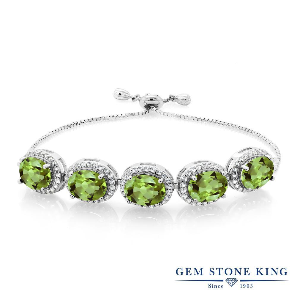 Gem Stone King 11.55カラット 天然石 ペリドット シルバー925 ブレスレット レディース 大粒 大ぶり 天然石 8月 誕生石 金属アレルギー対応 誕生日プレゼント