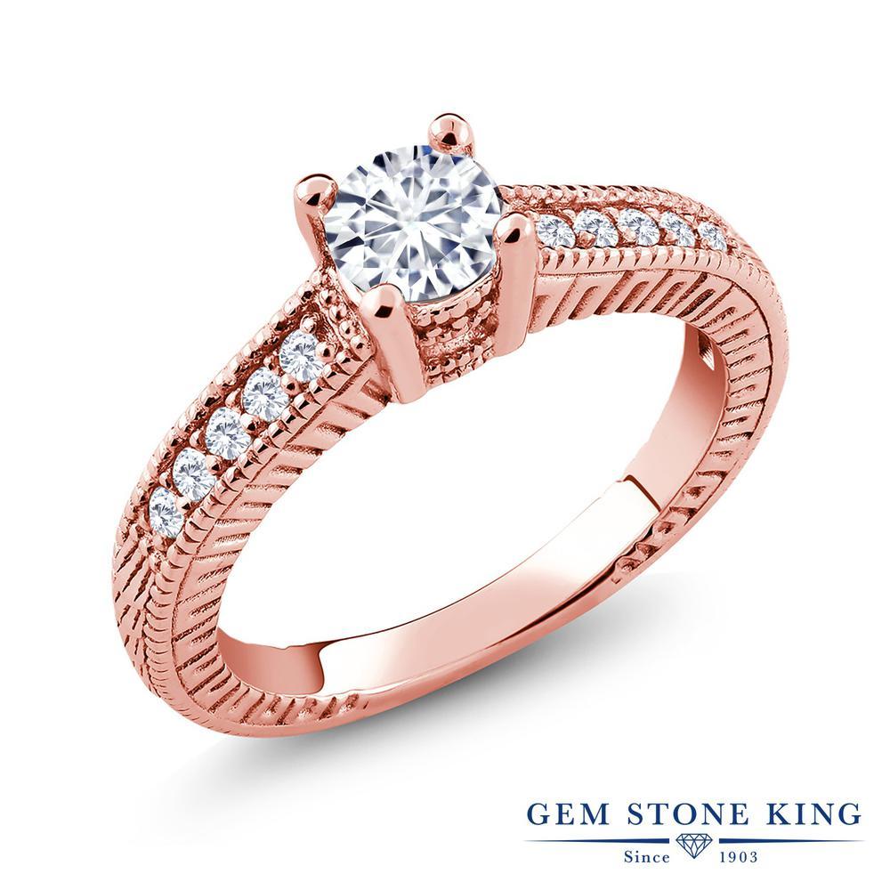 Gem Stone King 0.65カラット Forever Brilliant モアサナイト Charles & Colvard 合成ダイヤモンド シルバー925 ピンクゴールドコーティング 指輪 リング レディース モアッサナイト 小粒 金属アレルギー対応 誕生日プレゼント