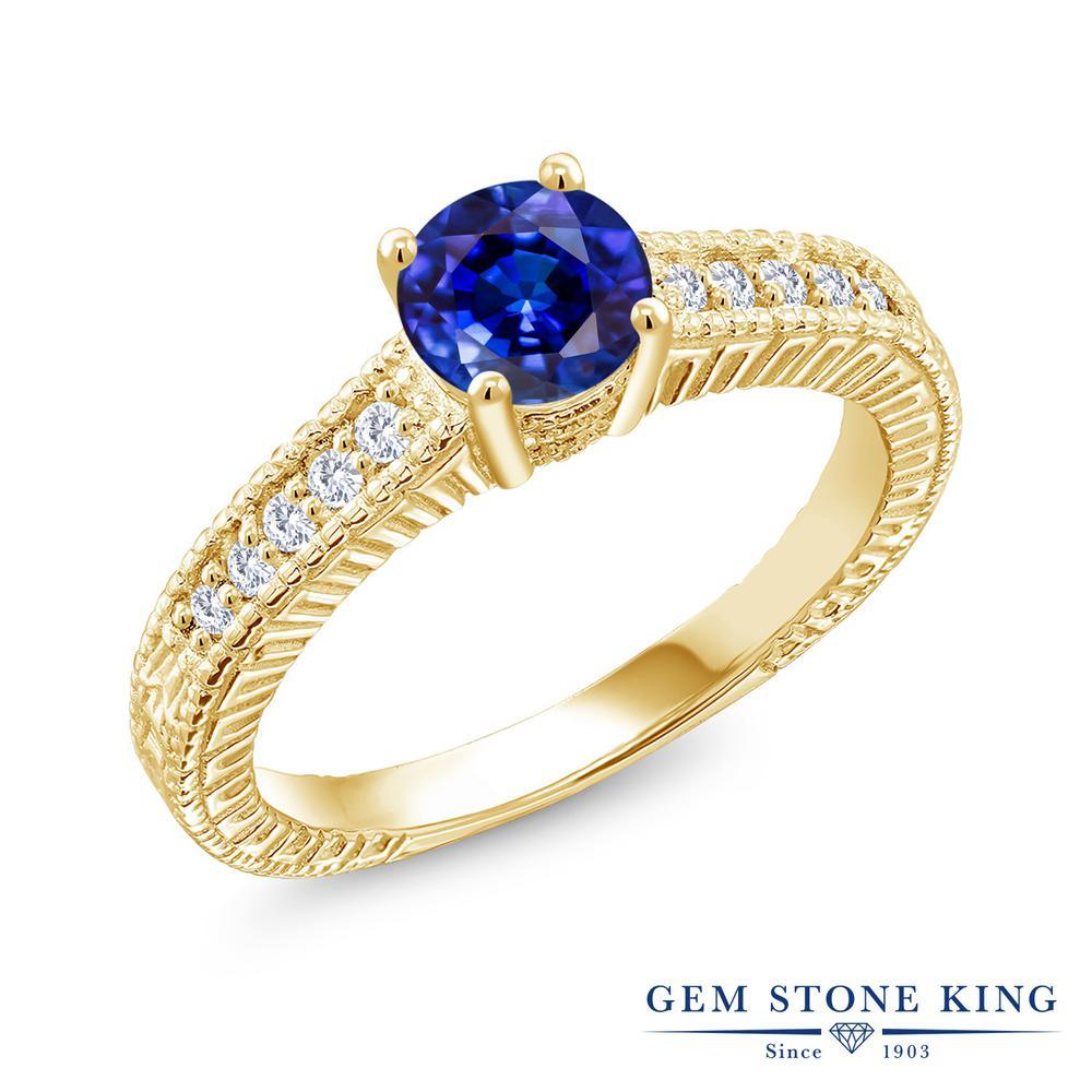Gem Stone King 1.4カラット 天然 カイヤナイト (ブルー) 合成ダイヤモンド シルバー925 イエローゴールドコーティング 指輪 リング レディース 大粒 マルチストーン 天然石 金属アレルギー対応 誕生日プレゼント