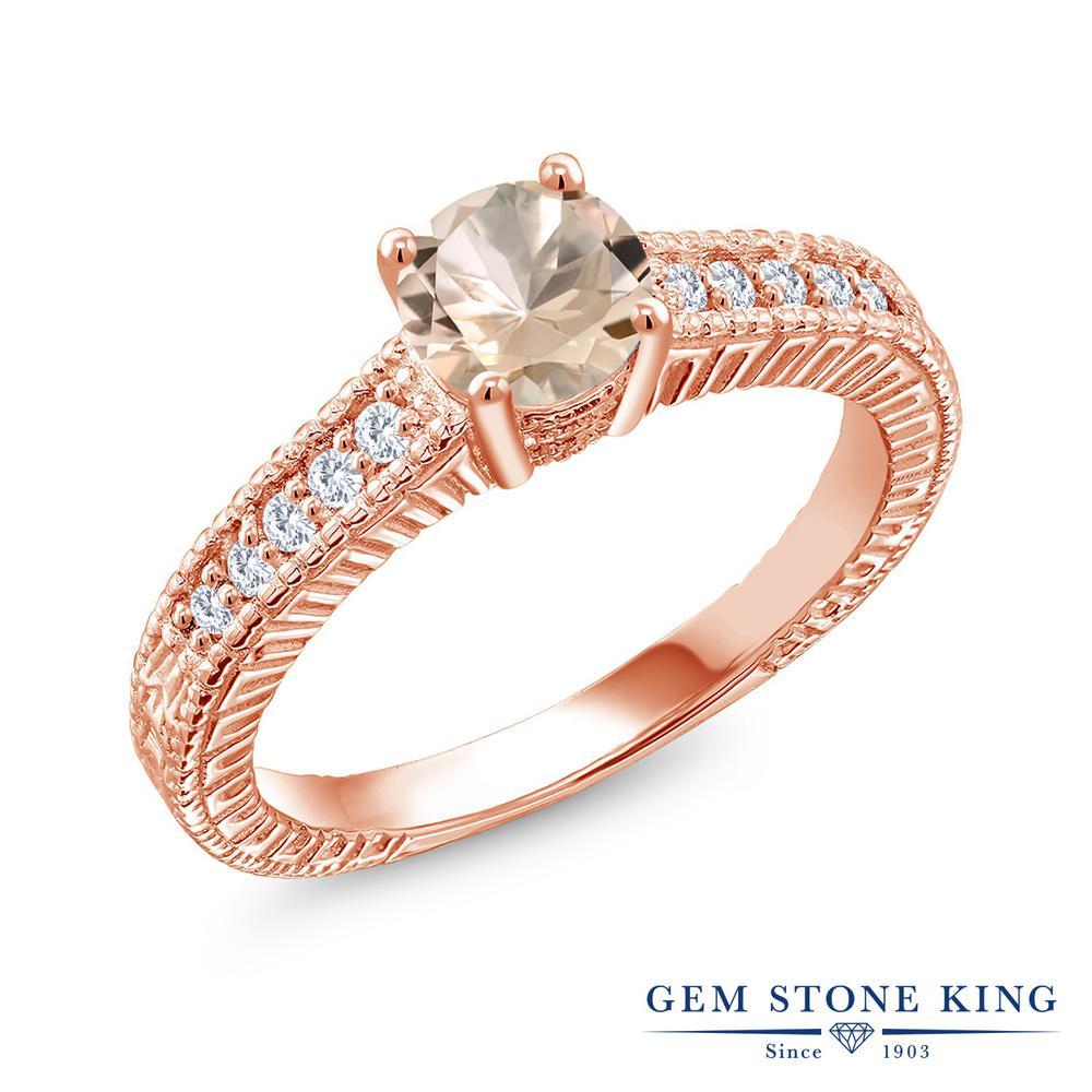 Gem Stone King 0.75カラット 天然 モルガナイト (ピーチ) 合成ダイヤモンド シルバー925 ピンクゴールドコーティング 指輪 リング レディース マルチストーン 天然石 3月 誕生石 金属アレルギー対応 誕生日プレゼント