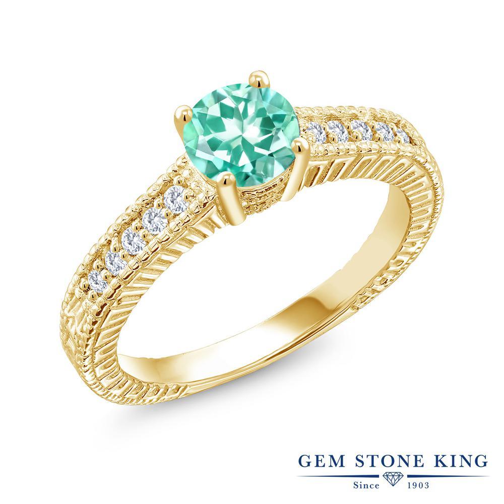 0.97カラット 天然 アパタイト 合成ダイヤモンド 指輪 リング レディース シルバー925 イエローゴールド 加工 マルチストーン 天然石 プレゼント 女性 彼女 妻 誕生日