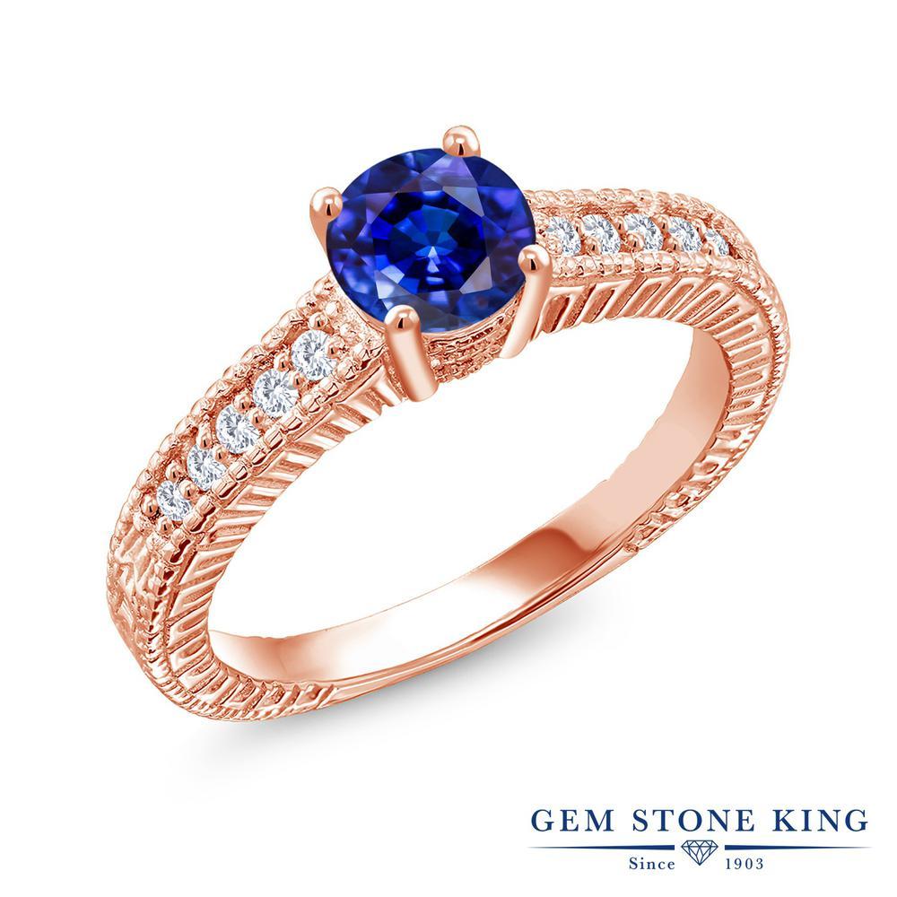 Gem Stone King 1.4カラット 天然 カイヤナイト (ブルー) 合成ダイヤモンド シルバー925 ピンクゴールドコーティング 指輪 リング レディース 大粒 マルチストーン 天然石 金属アレルギー対応 誕生日プレゼント