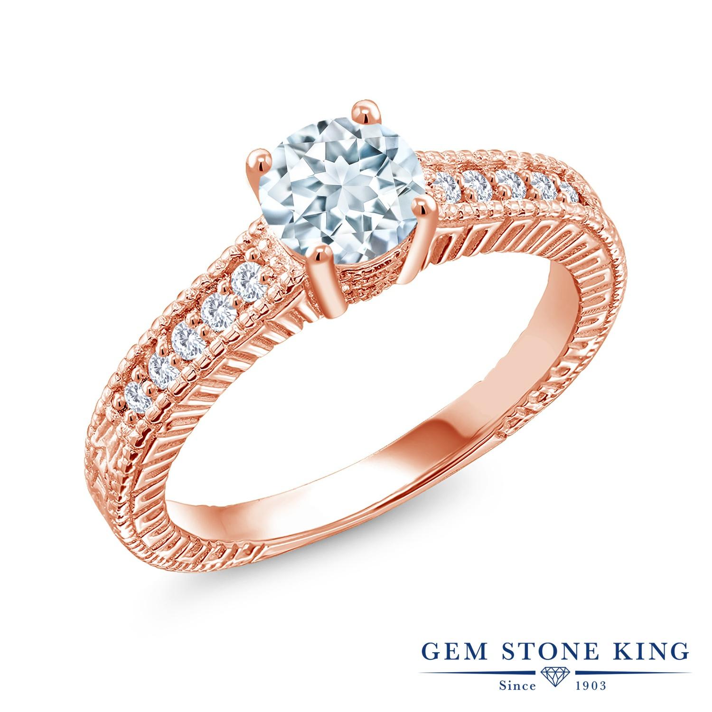 Gem Stone King 0.9カラット 天然 アクアマリン 合成ダイヤモンド シルバー925 ピンクゴールドコーティング 指輪 リング レディース マルチストーン 天然石 3月 誕生石 金属アレルギー対応 誕生日プレゼント