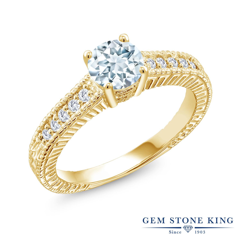 Gem Stone King 0.9カラット 天然 アクアマリン 合成ダイヤモンド シルバー925 イエローゴールドコーティング 指輪 リング レディース マルチストーン 天然石 3月 誕生石 金属アレルギー対応 誕生日プレゼント