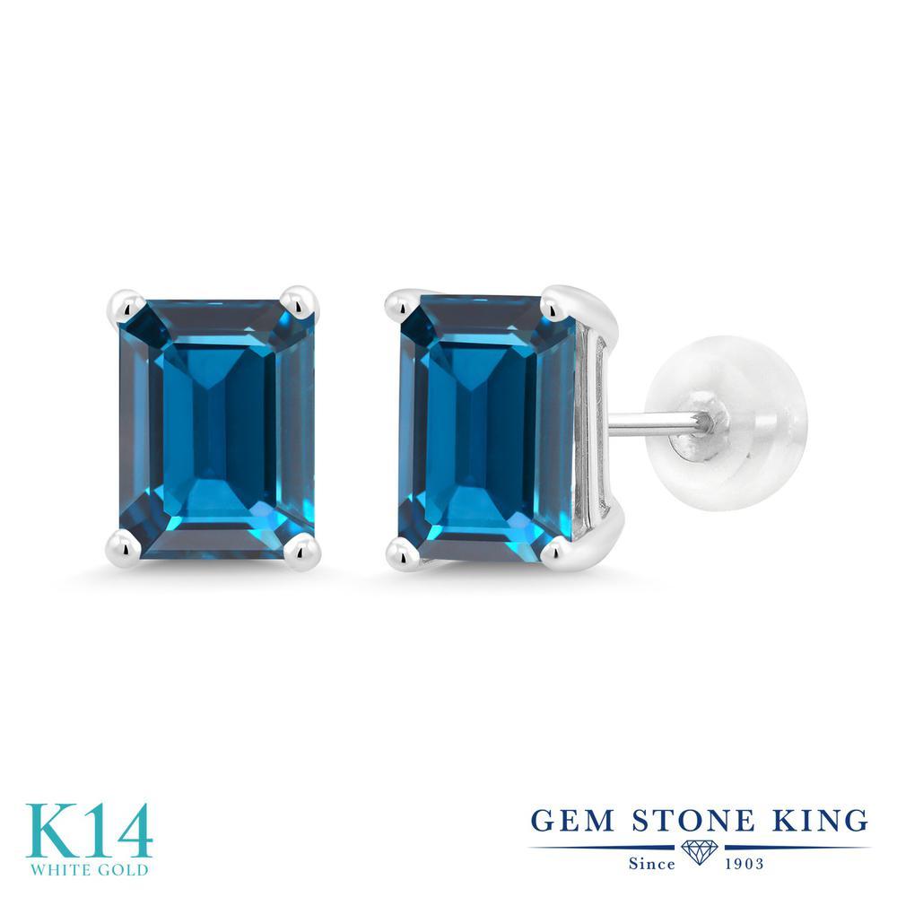 Gem Stone King 3.97カラット 天然 ロンドンブルートパーズ 14金 ホワイトゴールド(K14) ピアス レディース 大粒 シンプル 天然石 11月 誕生石 金属アレルギー対応 誕生日プレゼント
