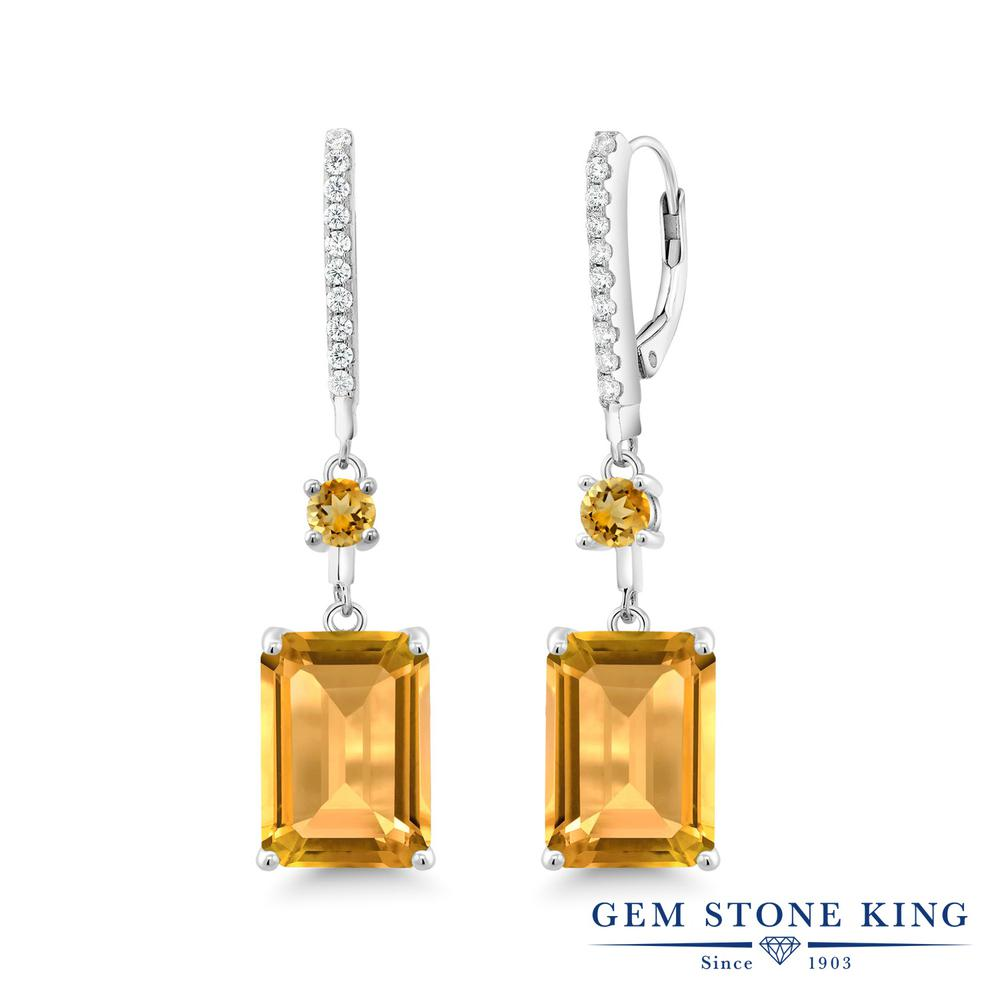 Gem Stone King 14.33カラット 天然 シトリン シルバー925 ピアス レディース 大粒 大ぶり ぶら下がり レバーバック 天然石 11月 誕生石 金属アレルギー対応 誕生日プレゼント