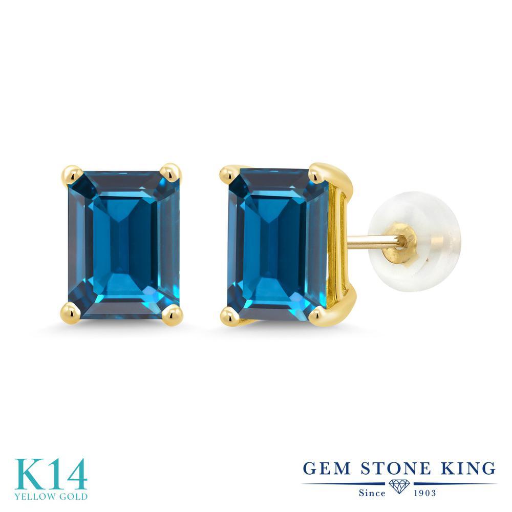 Gem Stone King 3.97カラット 天然 ロンドンブルートパーズ 14金 イエローゴールド(K14) ピアス レディース 大粒 シンプル 天然石 11月 誕生石 金属アレルギー対応 誕生日プレゼント