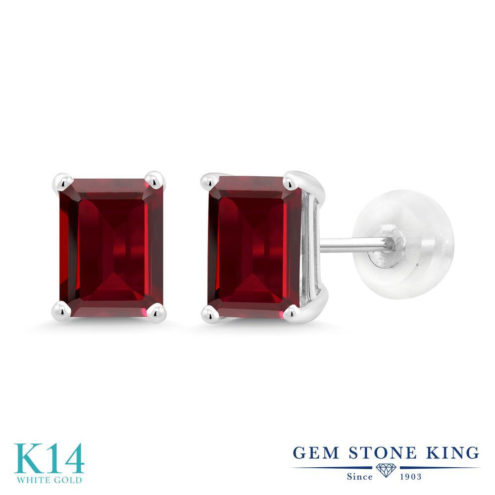 Gem Stone King 3.6カラット 天然 ガーネット 14金 ホワイトゴールド(K14) ピアス レディース 大粒 シンプル スタッド 天然石 1月 誕生石 金属アレルギー対応 誕生日プレゼント