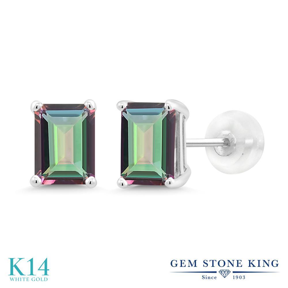 Gem Stone King 2カラット 天然石 ミスティックトパーズ (グリーン) 14金 ホワイトゴールド(K14) ピアス レディース 大粒 シンプル スタッド 天然石 金属アレルギー対応 誕生日プレゼント