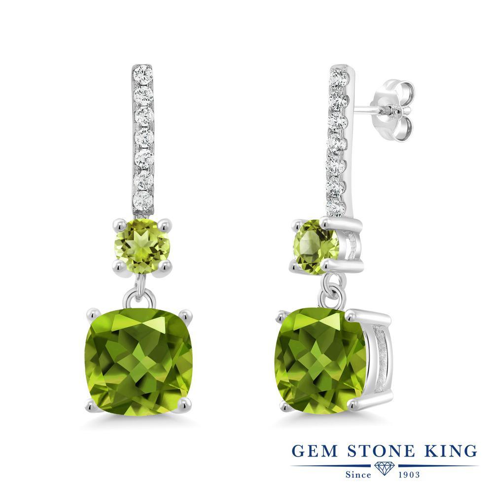 Gem Stone King 5.71カラット 天然石 ペリドット シルバー925 ピアス レディース 大粒 ぶら下がり 天然石 8月 誕生石 金属アレルギー対応 誕生日プレゼント
