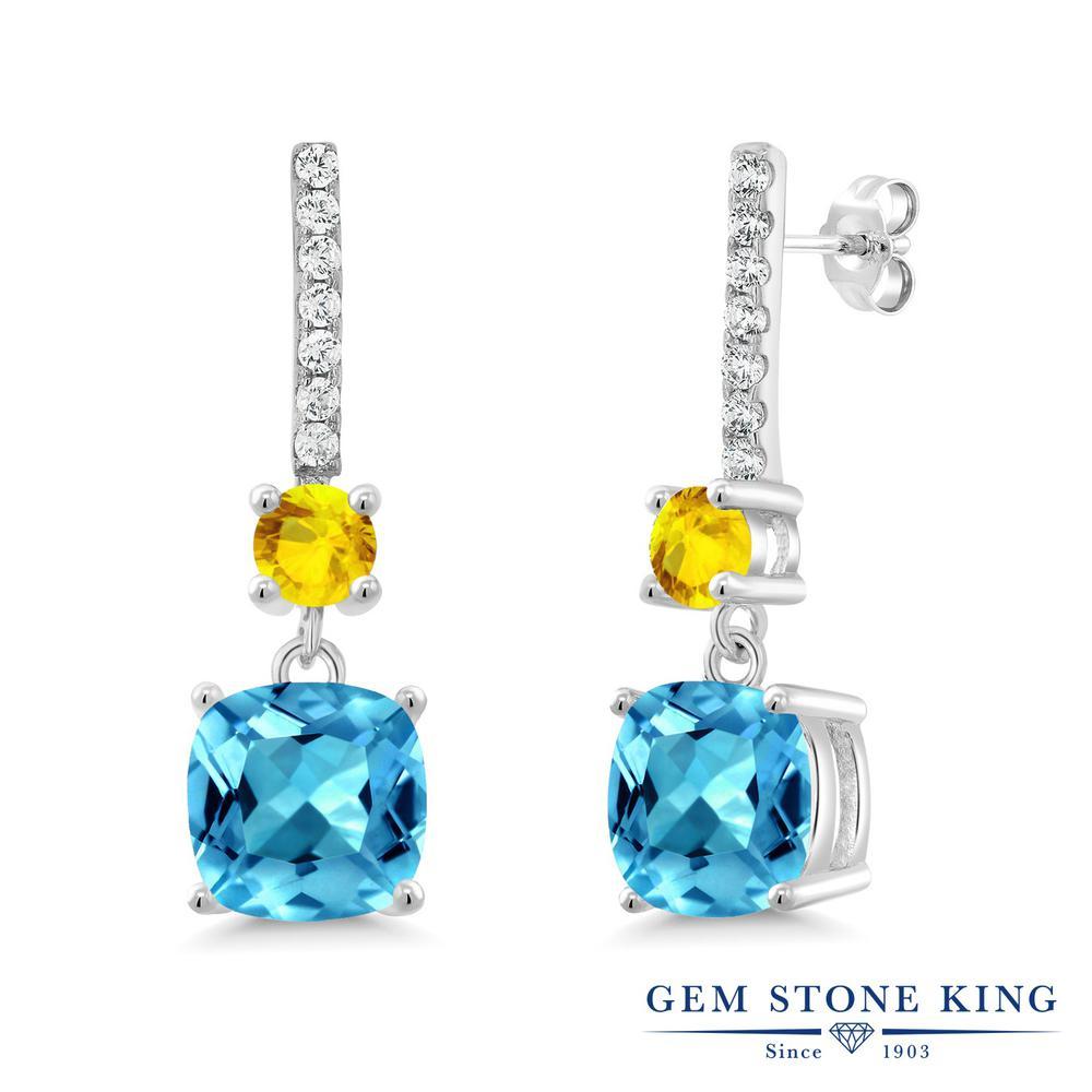 Gem Stone King 5.53カラット 天然 スイスブルートパーズ 天然 イエローサファイア シルバー925 ピアス レディース 大粒 ぶら下がり 天然石 11月 誕生石 金属アレルギー対応 誕生日プレゼント