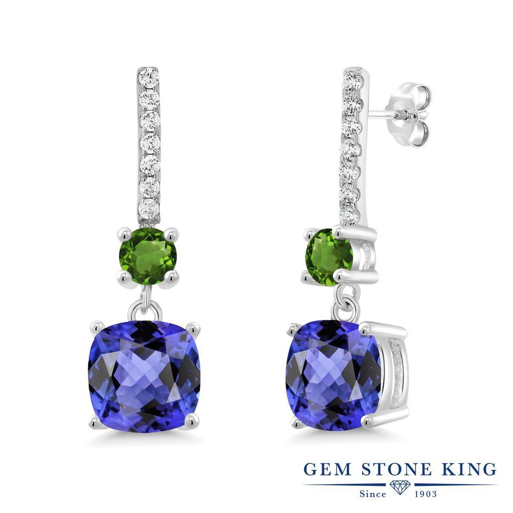 Gem Stone King 6.11カラット 天然石 タンザナイト 天然 グリーントルマリン シルバー925 ピアス レディース 大粒 ぶら下がり 天然石 12月 誕生石 金属アレルギー対応 誕生日プレゼント