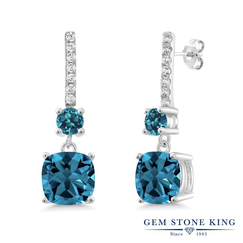 Gem Stone King 6.47カラット 天然 ロンドンブルートパーズ シルバー925 ピアス レディース 大粒 ぶら下がり 天然石 11月 誕生石 金属アレルギー対応 誕生日プレゼント