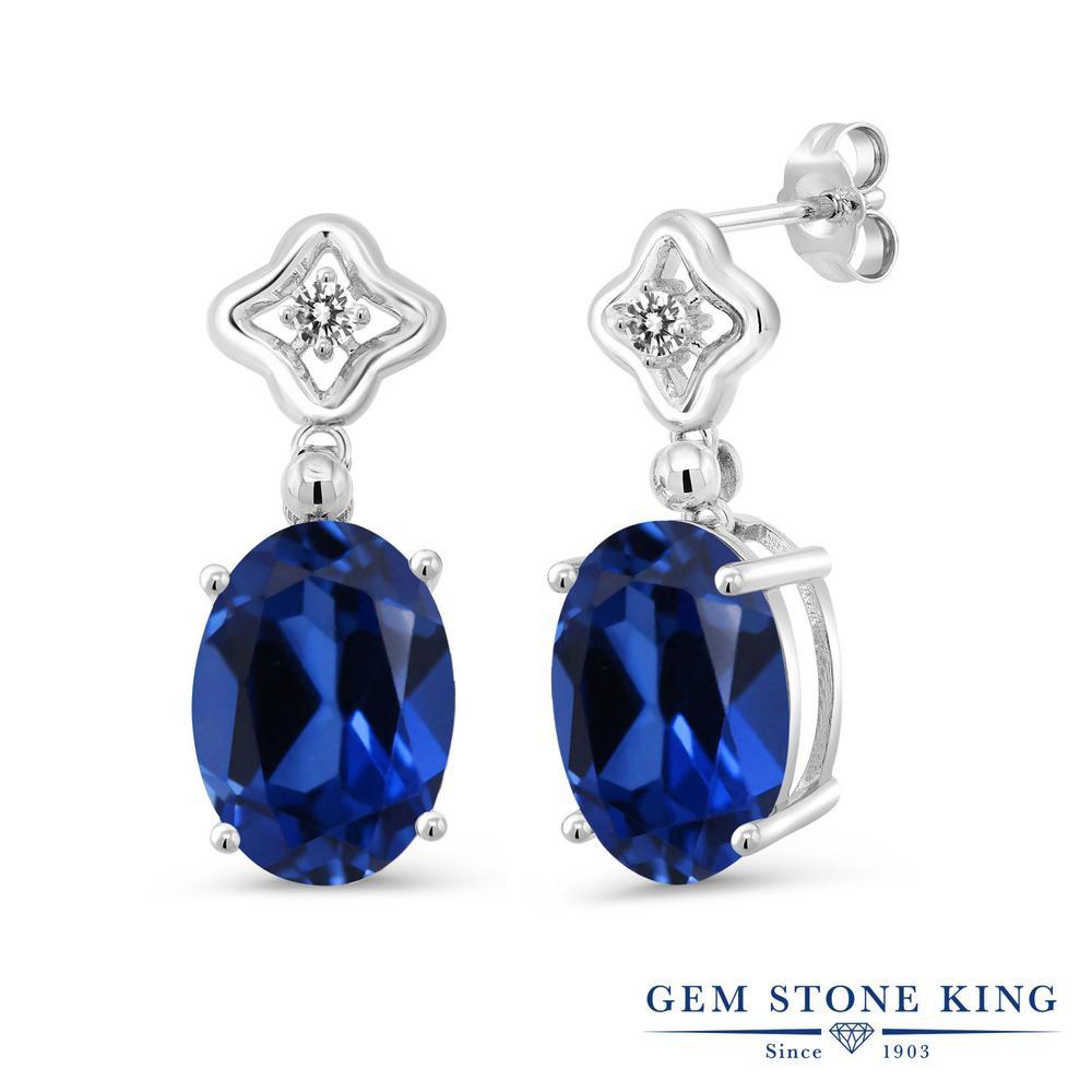 Gem Stone King 12.13カラット シミュレイテッド サファイア 天然 ダイヤモンド シルバー925 ピアス レディース 大粒 ぶら下がり 金属アレルギー対応 誕生日プレゼント