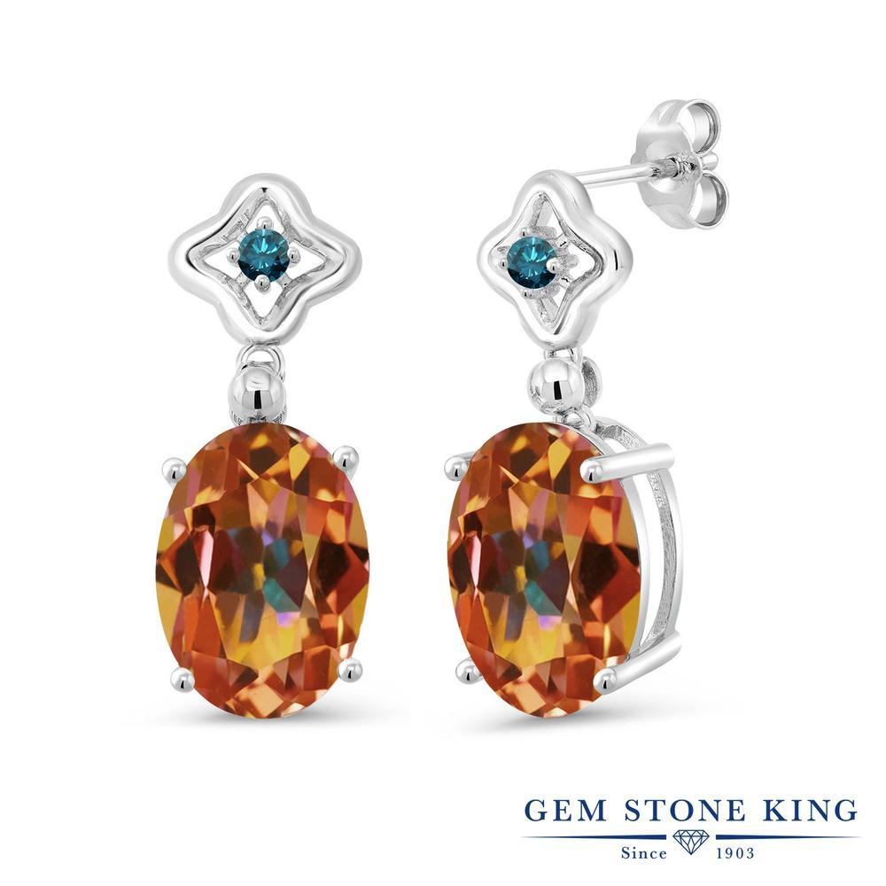 Gem Stone King 0.13カラット 天然石 エクスタシーミスティックトパーズ 天然 ブルーダイヤモンド シルバー925 ピアス レディース 小粒 ぶら下がり 天然石 金属アレルギー対応 誕生日プレゼント