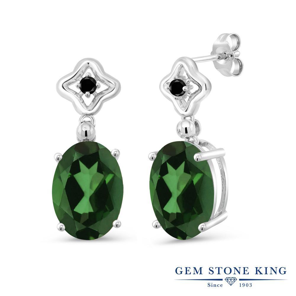 Gem Stone King 11.13カラット 天然石 ミスティッククォーツ (エンヴィーグリーン) 天然ブラックダイヤモンド シルバー925 ピアス レディース 大粒 ぶら下がり 天然石 金属アレルギー対応 誕生日プレゼント