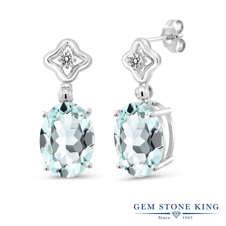 Gem Stone King 11.53カラット シミュレイテッド アクアマリン 天然 ダイヤモンド シルバー925 ピアス レディース 大粒 ぶら下がり 金属アレルギー対応 誕生日プレゼント