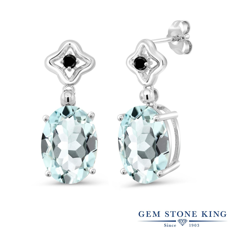 Gem Stone King 11.53カラット シミュレイテッド アクアマリン 天然ブラックダイヤモンド シルバー925 ピアス レディース 大粒 ぶら下がり 金属アレルギー対応 誕生日プレゼント