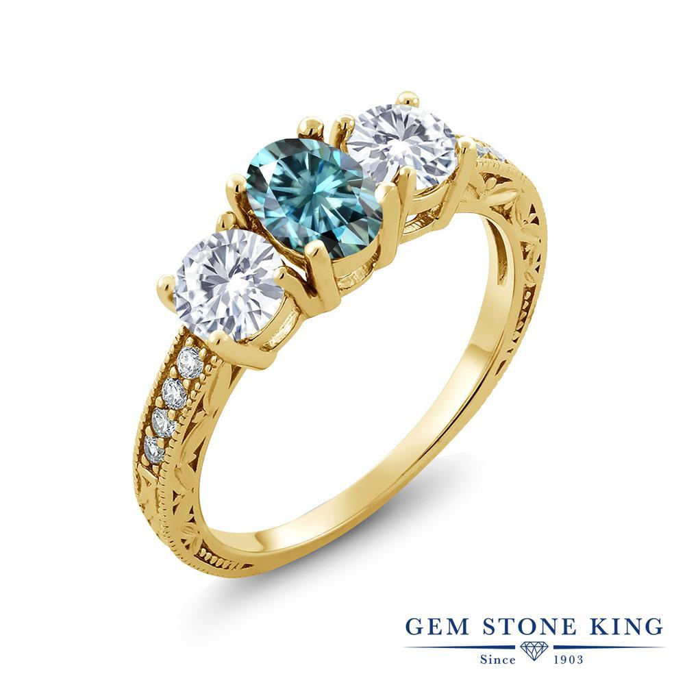 【クーポンで10%OFF】 Gem Stone King 2.02カラット ブルー モアッサナイト Charles & Colvard モアッサナイト Charles & Colvard シルバー925 イエローゴールドコーティング 指輪 リング レディース モアサナイト スリーストーン 金属アレルギー対応 誕生日プレゼント