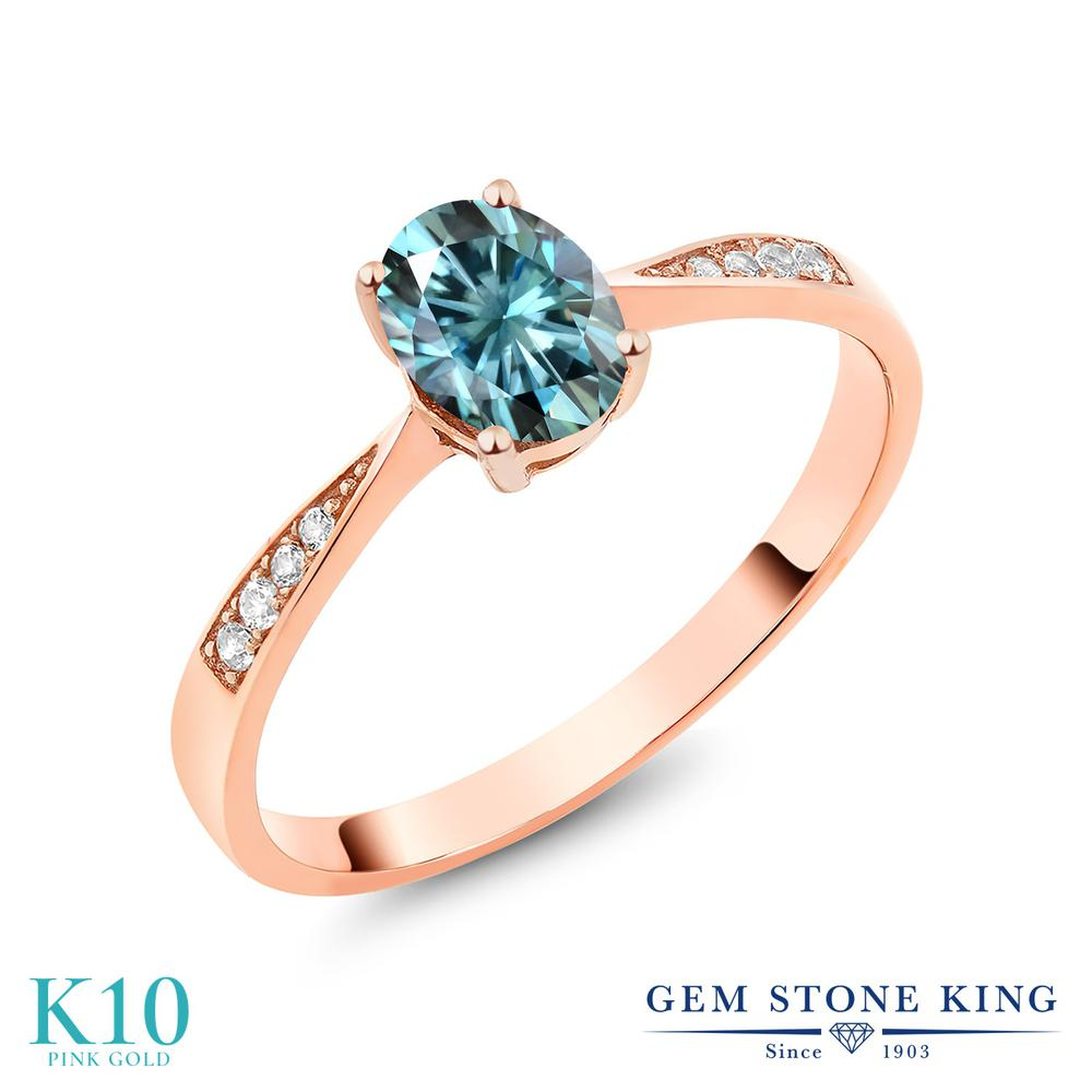 Gem Stone King 0.96カラット ブルー モアサナイト Charles & Colvard 天然 ダイヤモンド 10金 ピンクゴールド(K10) 指輪 リング レディース モアッサナイト ソリティア 金属アレルギー対応 誕生日プレゼント