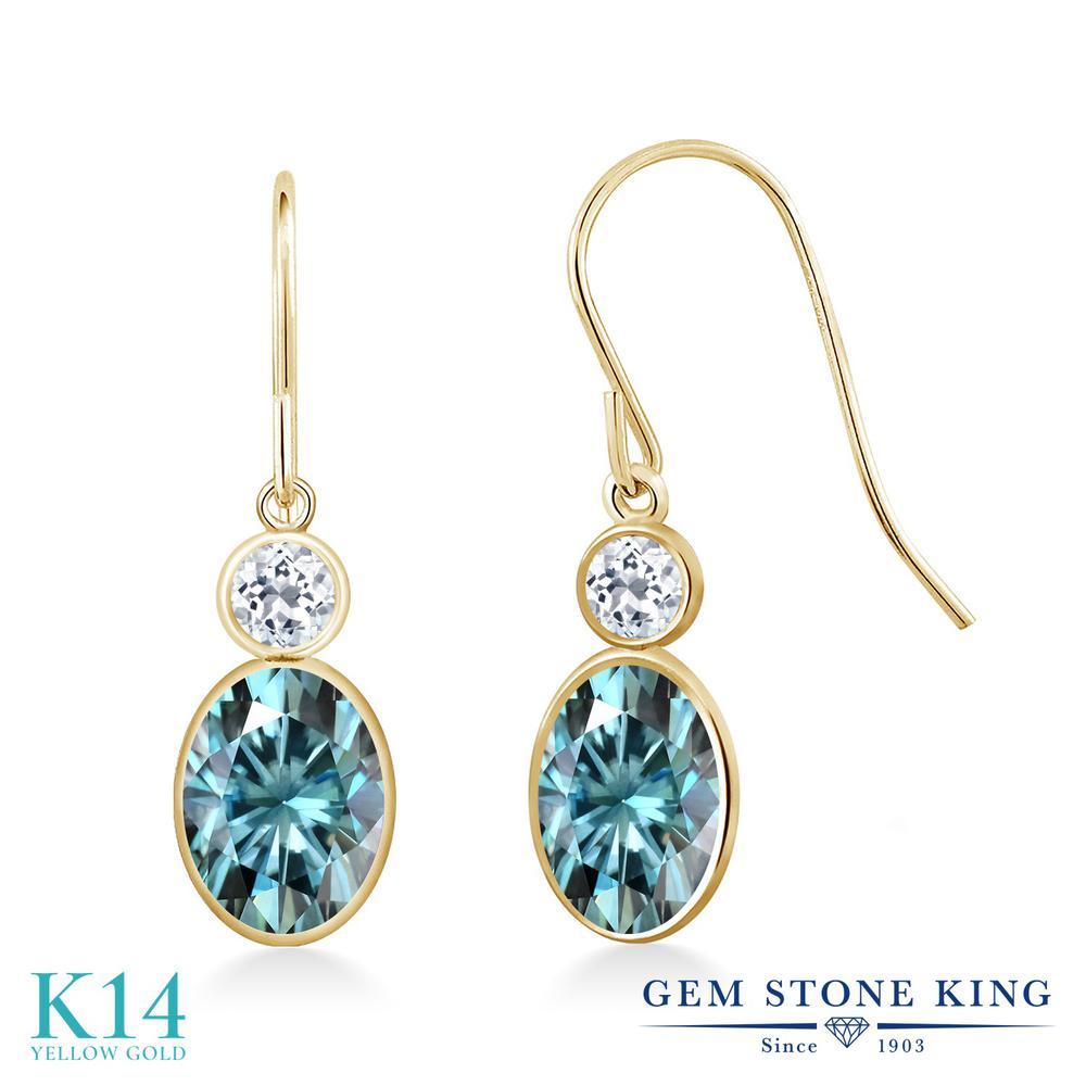 Gem Stone King 2.08カラット ブルー モアサナイト Charles & Colvard 天然 トパーズ ピアス レディース 14金 イエローゴールド K14 モアッサナイト フレンチワイヤー 金属アレルギー対応