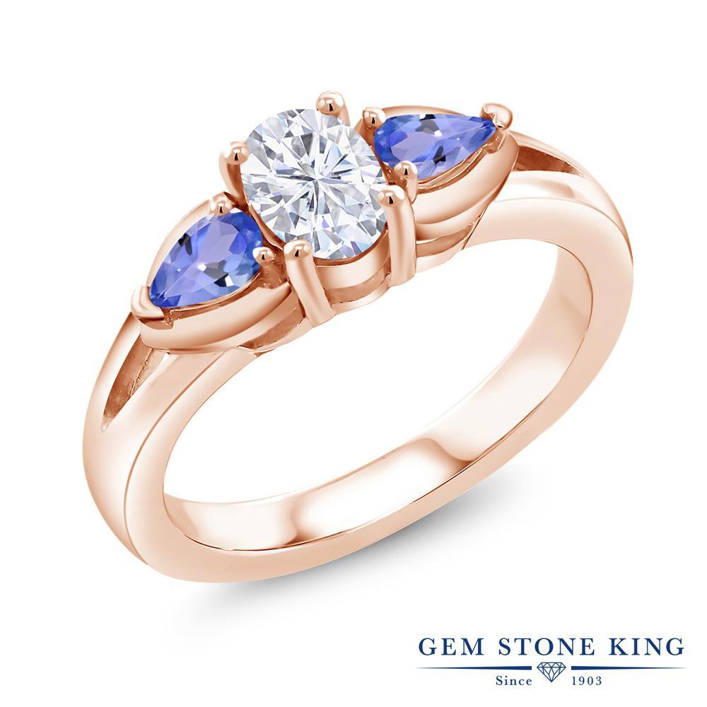 【10%OFF】 Gem Stone King 1.3カラット Forever Brilliant モアサナイト Charles & Colvard 天然石 タンザナイト 指輪 リング レディース シルバー925 ピンクゴールド 加工 モアッサナイト スリーストーン シンプル クリスマスプレゼント 女性 彼女 妻 誕生日