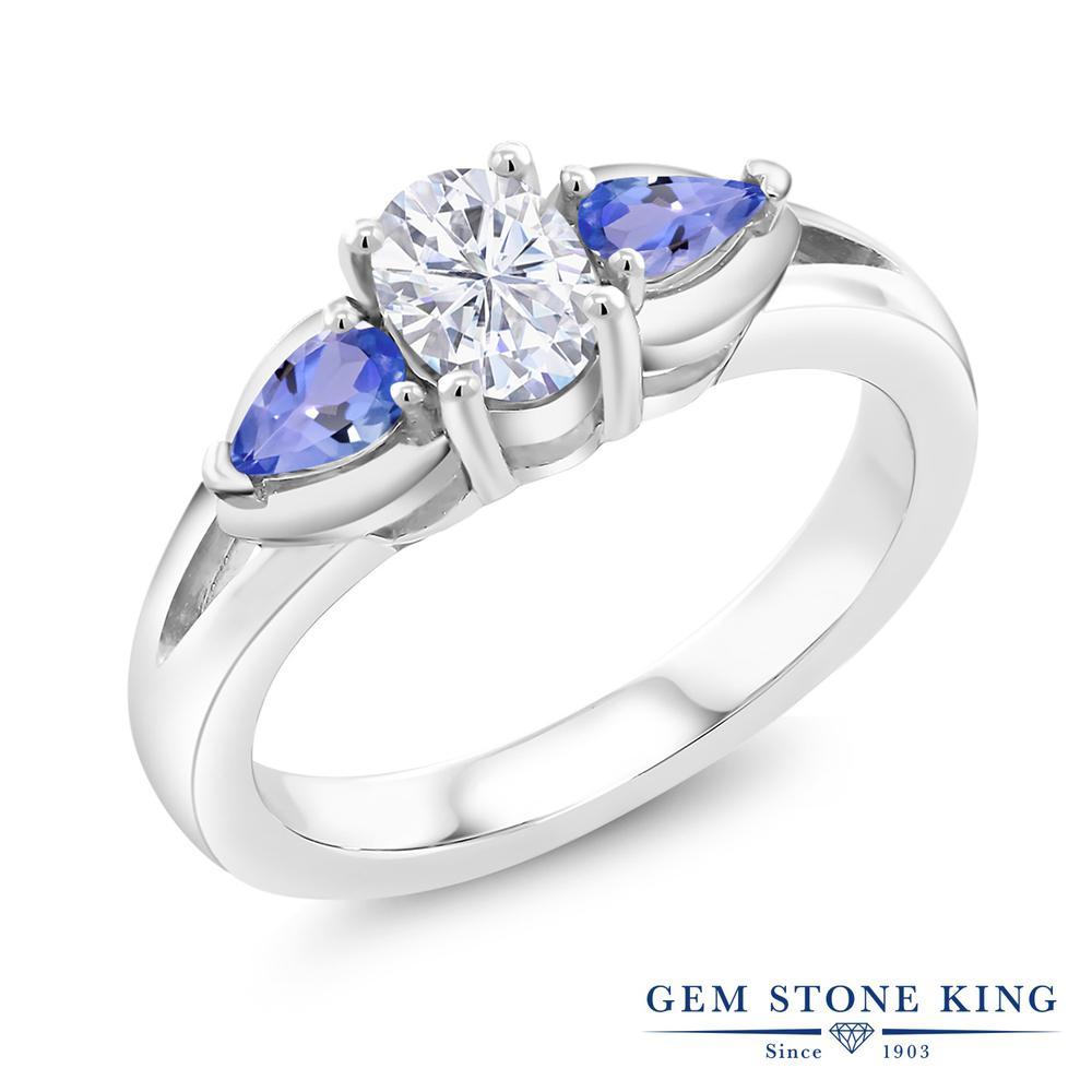 【10%OFF】 Gem Stone King 1.3カラット Forever Brilliant モアサナイト Charles & Colvard 天然石 タンザナイト 指輪 リング レディース シルバー925 モアッサナイト スリーストーン シンプル クリスマスプレゼント 女性 彼女 妻 誕生日