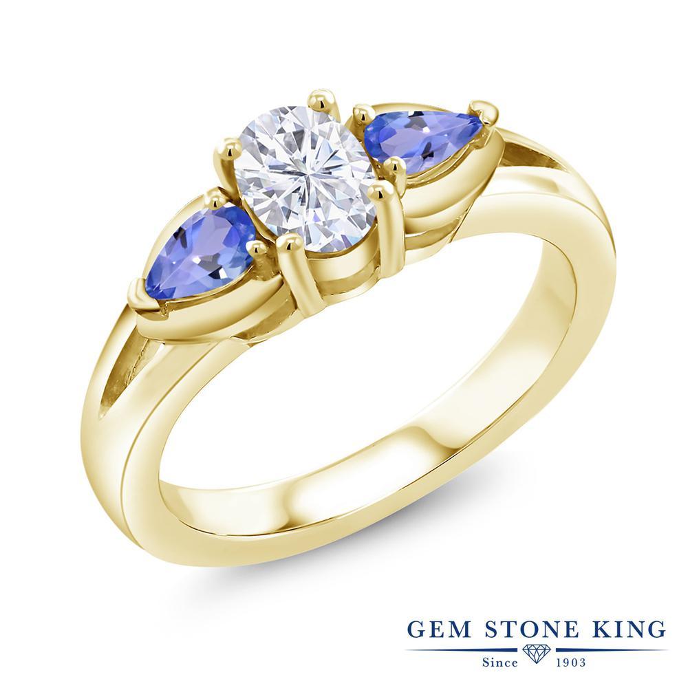【10%OFF】 Gem Stone King 1.3カラット Forever Brilliant モアサナイト Charles & Colvard 天然石 タンザナイト 指輪 リング レディース シルバー925 イエローゴールド 加工 モアッサナイト スリーストーン シンプル クリスマスプレゼント 女性 彼女 妻 誕生日