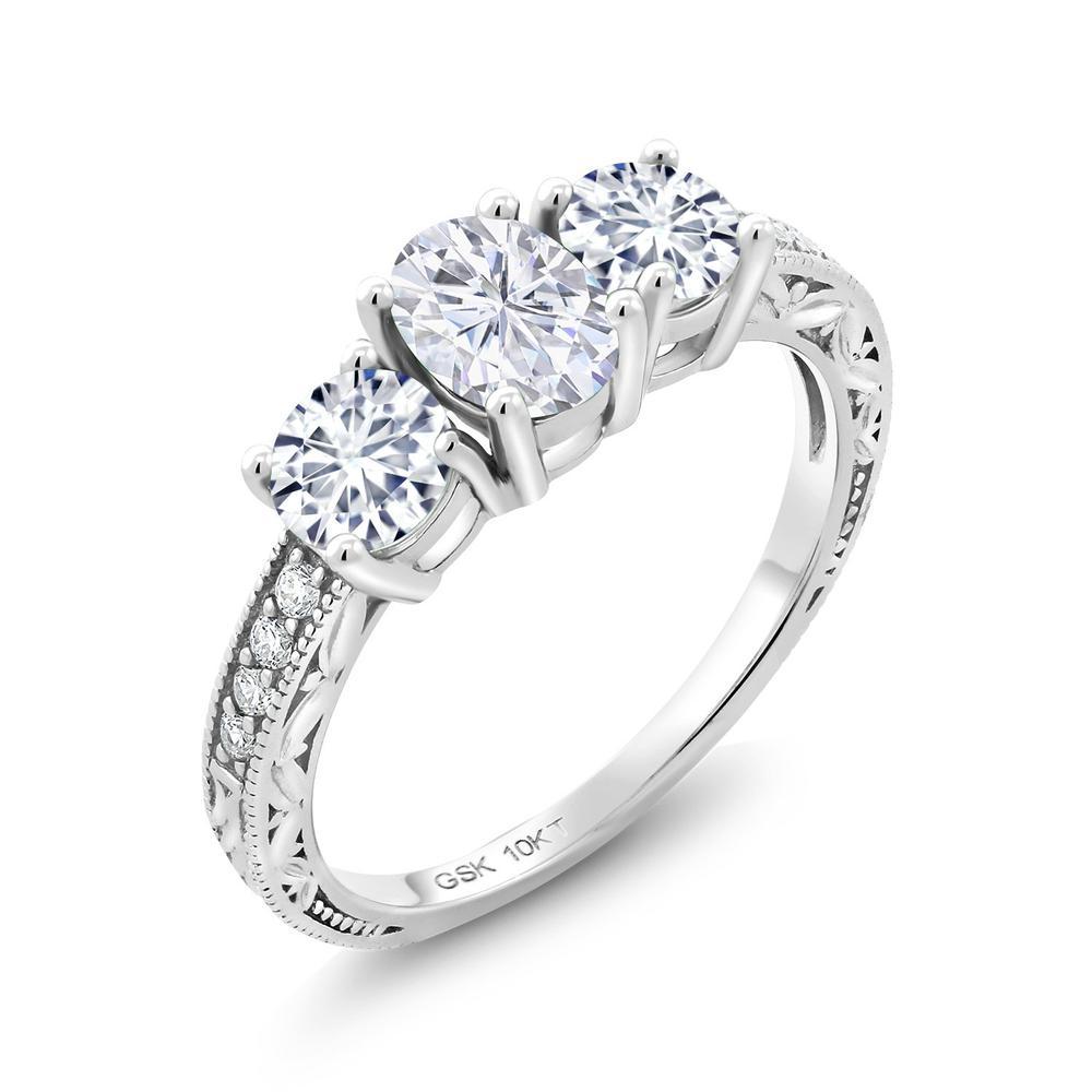 1.94カラット Forever Brilliant モアサナイト Charles & Colvard 指輪 レディース リング 合成ダイヤモンド 10金 ホワイトゴールド K10 ブランド おしゃれ リーフ 細工 モアッサナイト 派手 スリーストーン 婚約指輪 エンゲージリング