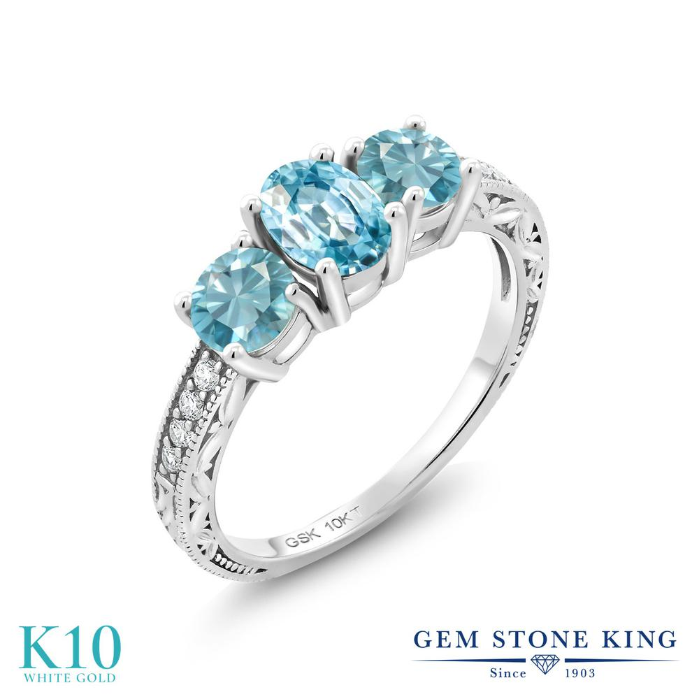 Gem 2.99カラット Stone King 2.99カラット 天然石 リング 誕生石 ブルージルコン 合成ダイヤモンド 10金 ホワイトゴールド(K10) 指輪 リング レディース 大粒 スリーストーン 天然石 12月 誕生石 金属アレルギー対応 誕生日プレゼント, みやこや:6de2ceba --- ww.thecollagist.com