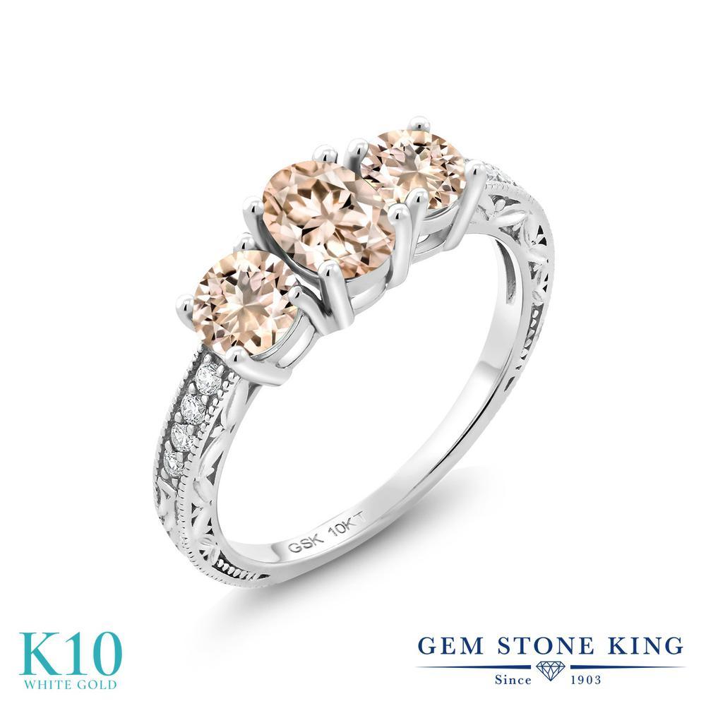 1.49カラット 天然 モルガナイト (ピーチ) 合成ダイヤモンド 指輪 リング レディース 10金 ホワイトゴールド K10 スリーストーン 天然石 3月 誕生石 婚約指輪 エンゲージリング