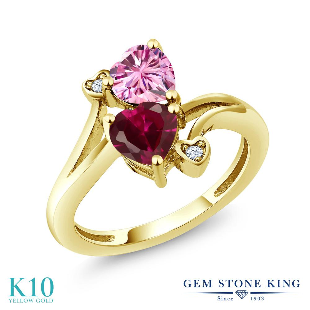 Gem Stone King 1.79カラット ピンク モアサナイト Charles & Colvard 合成ルビー 10金 イエローゴールド(K10) 指輪 リング レディース モアッサナイト ダブルストーン 金属アレルギー対応 誕生日プレゼント