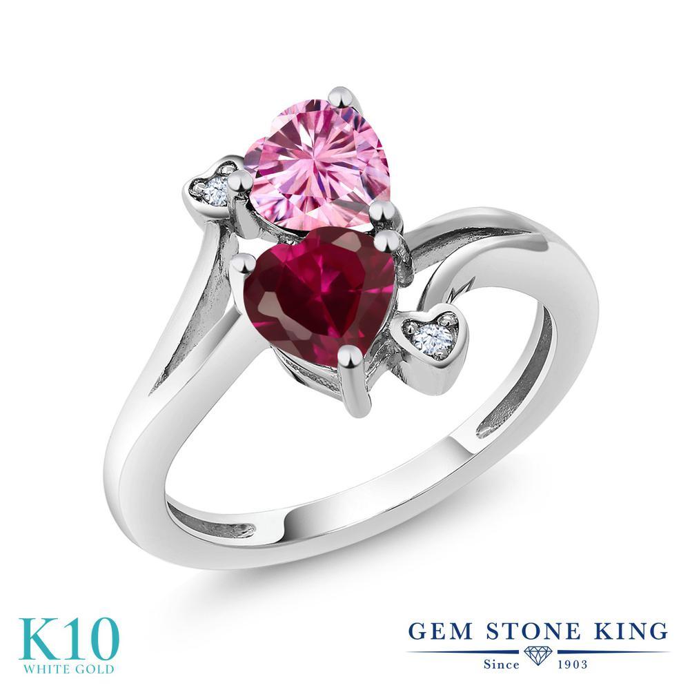 Gem Stone King 1.79カラット ピンク モアサナイト Charles & Colvard 合成ルビー 10金 ホワイトゴールド(K10) 指輪 リング レディース モアッサナイト ダブルストーン 金属アレルギー対応 誕生日プレゼント