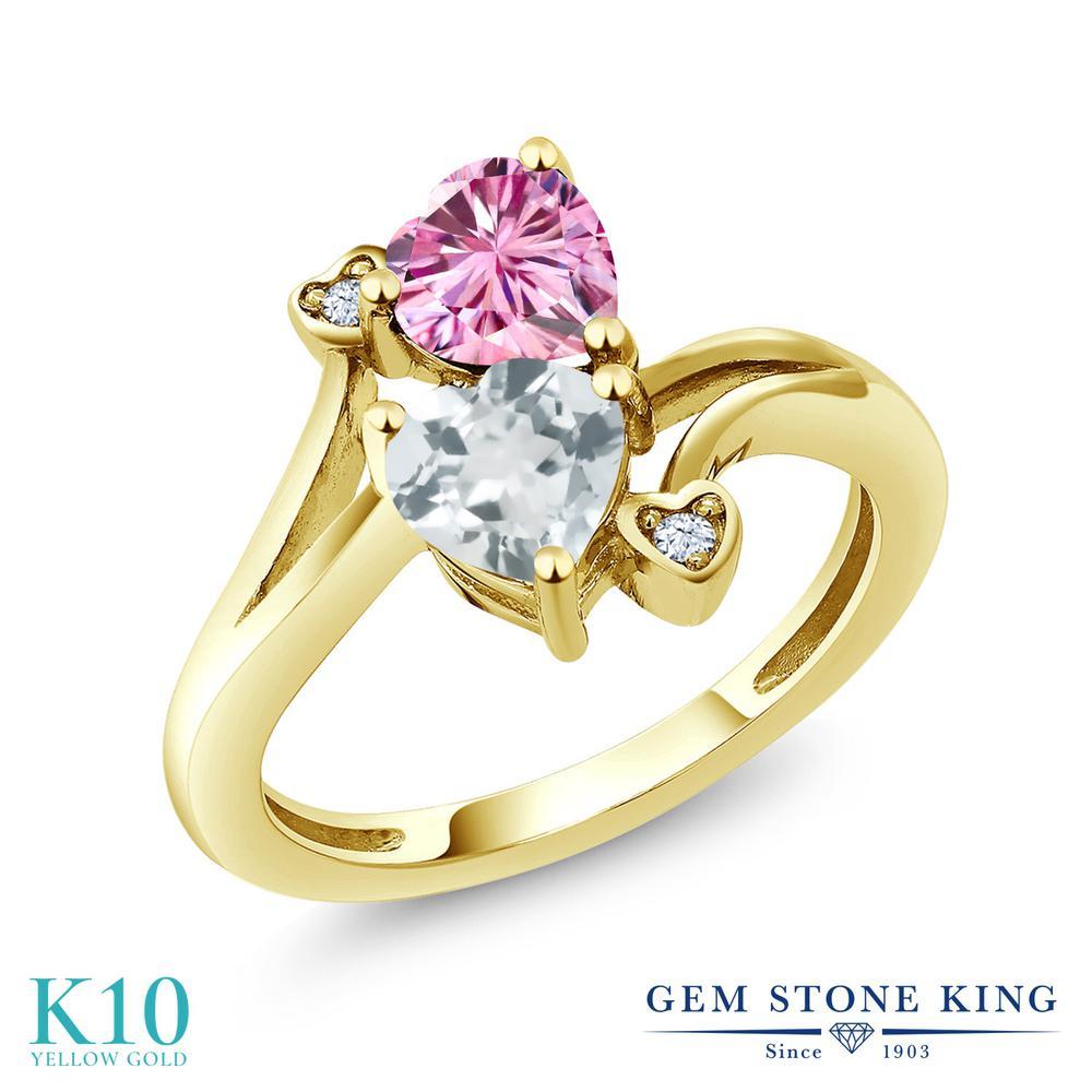 Gem Stone King 1.56カラット ピンク モアサナイト Charles & Colvard 天然 アクアマリン 10金 イエローゴールド(K10) 指輪 リング レディース モアッサナイト ダブルストーン 金属アレルギー対応 誕生日プレゼント