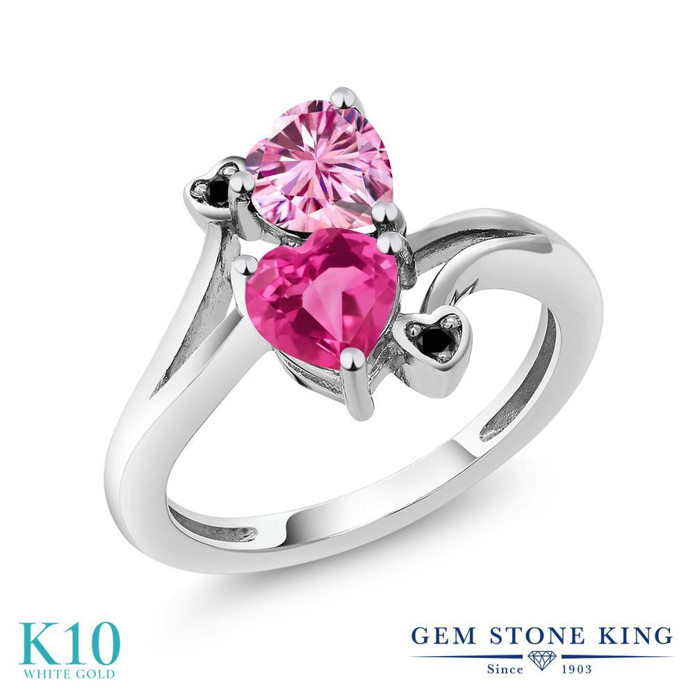 Gem Stone King 1.63カラット ピンク モアサナイト Charles & Colvard 合成ピンクサファイア 天然ブラックダイヤモンド 10金 ホワイトゴールド(K10) 指輪 リング レディース モアッサナイト ダブルストーン 金属アレルギー対応 誕生日プレゼント