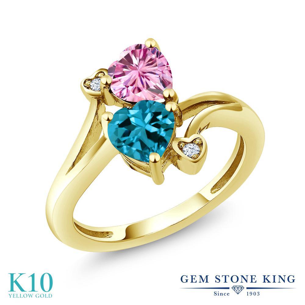 Gem Stone King 1.78カラット ピンク モアサナイト Charles & Colvard 天然 ロンドンブルートパーズ 10金 イエローゴールド(K10) 指輪 リング レディース モアッサナイト ダブルストーン 金属アレルギー対応 誕生日プレゼント