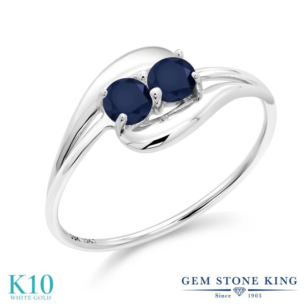 【10%OFF】 Gem Stone King 0.5カラット 天然 サファイア 指輪 リング レディース 10金 ホワイトゴールド K10 小粒 シンプル 天然石 9月 誕生石 クリスマスプレゼント 女性 彼女 妻 誕生日