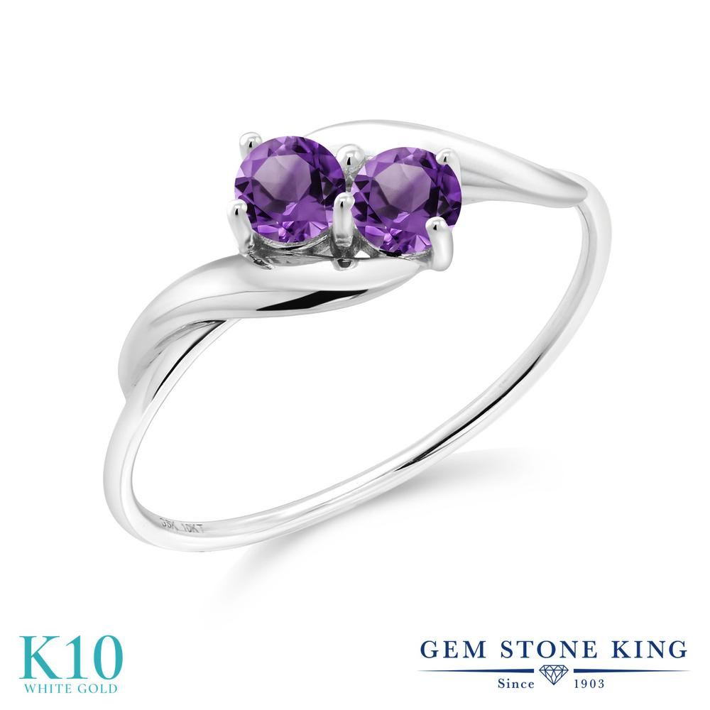 Gem Stone King 0.32カラット 天然 アメジスト 10金 ホワイトゴールド(K10) 指輪 リング レディース 小粒 シンプル 天然石 2月 誕生石 金属アレルギー対応 誕生日プレゼント