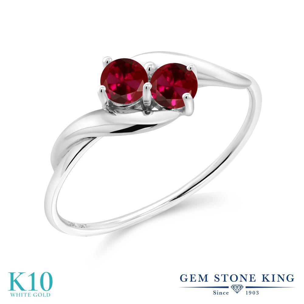 Gem Stone King 0.5カラット 合成ルビー 10金 ホワイトゴールド(K10) 指輪 リング レディース 小粒 シンプル 金属アレルギー対応 誕生日プレゼント