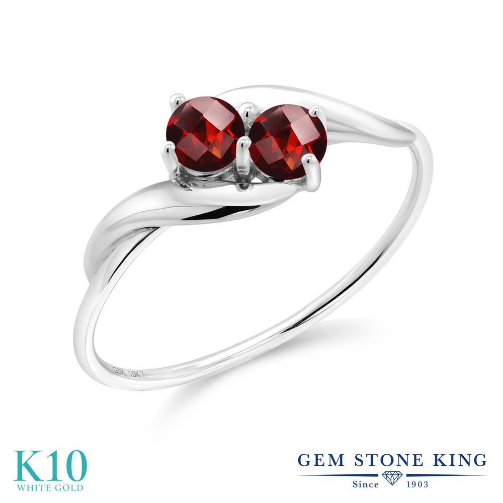 Gem Stone King 0.5カラット 天然 ガーネット 10金 ホワイトゴールド(K10) 指輪 リング レディース 小粒 シンプル 天然石 1月 誕生石 金属アレルギー対応 誕生日プレゼント
