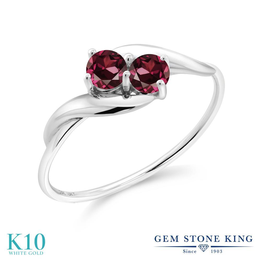 Gem Stone King 0.44カラット 天然 ロードライトガーネット 10金 ホワイトゴールド(K10) 指輪 リング レディース 小粒 シンプル 天然石 金属アレルギー対応 誕生日プレゼント