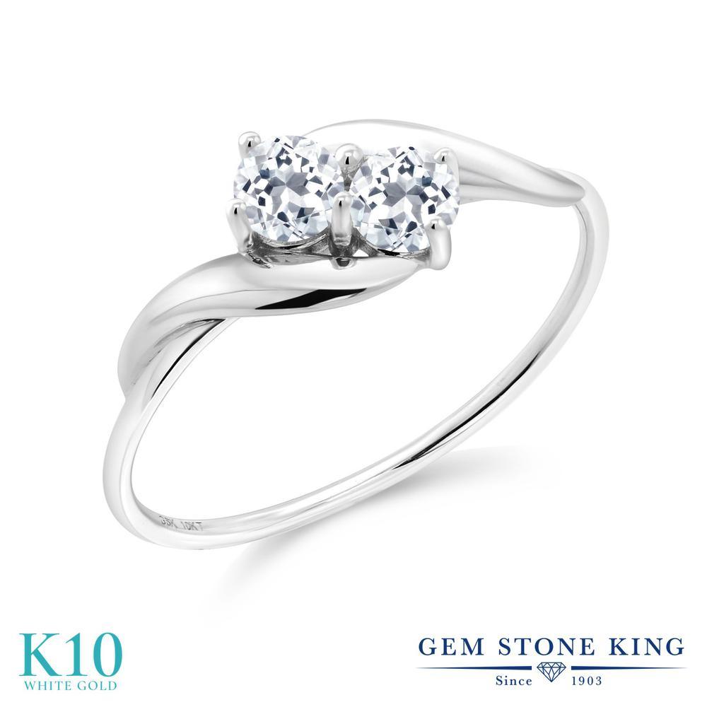 Gem Stone King 0.43カラット 天然 トパーズ (無色透明) 10金 ホワイトゴールド(K10) 指輪 リング レディース 小粒 シンプル 天然石 11月 誕生石 金属アレルギー対応 誕生日プレゼント