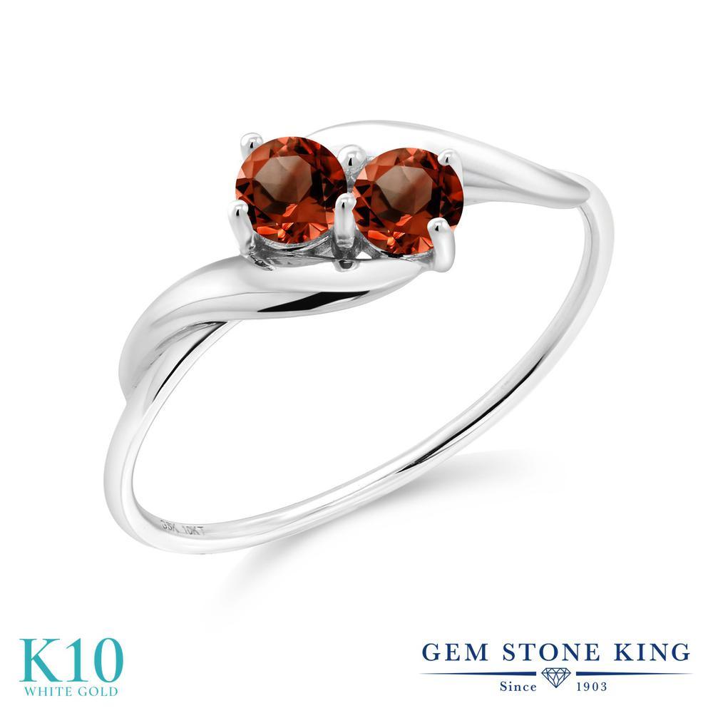 Gem Stone King 0.4カラット 天然 ガーネット 10金 ホワイトゴールド(K10) 指輪 リング レディース 小粒 シンプル 天然石 1月 誕生石 金属アレルギー対応 誕生日プレゼント