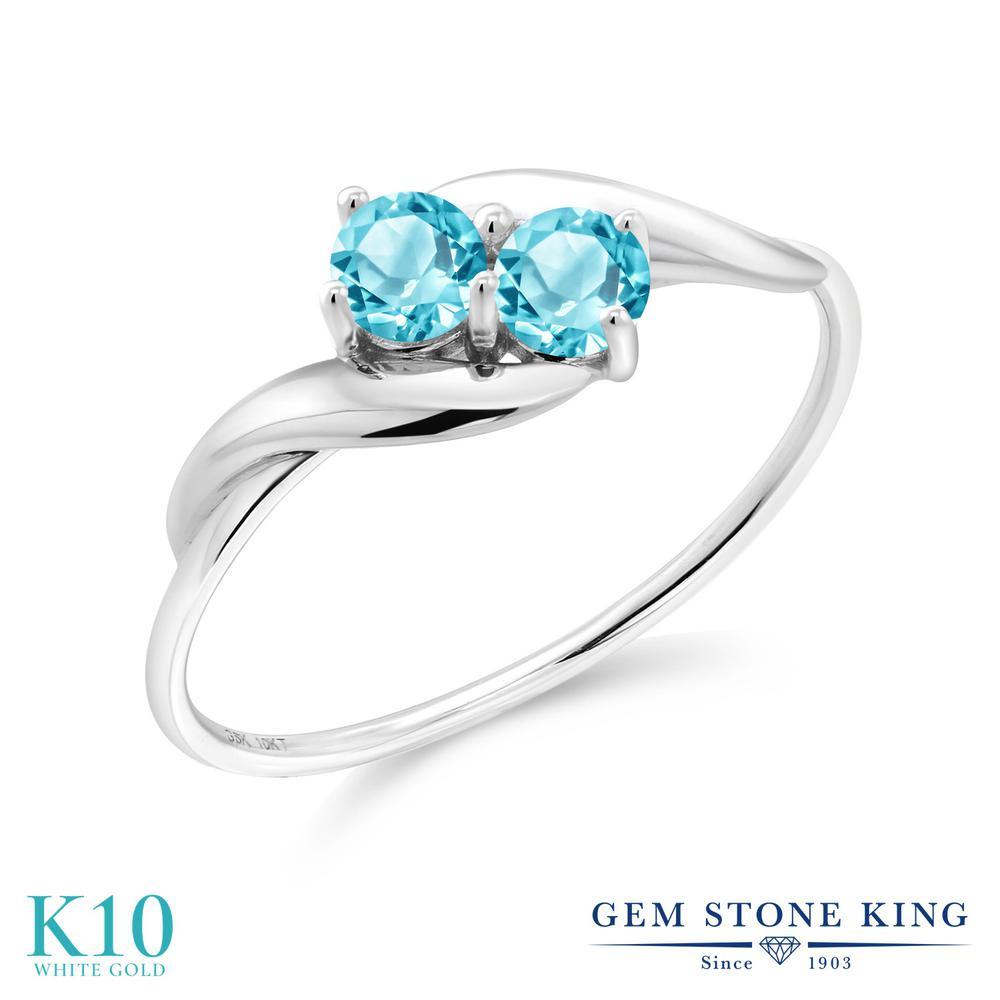 Gem Stone King 0.4カラット 天然 スイスブルートパーズ 10金 ホワイトゴールド(K10) 指輪 リング レディース 小粒 シンプル 天然石 11月 誕生石 金属アレルギー対応 誕生日プレゼント