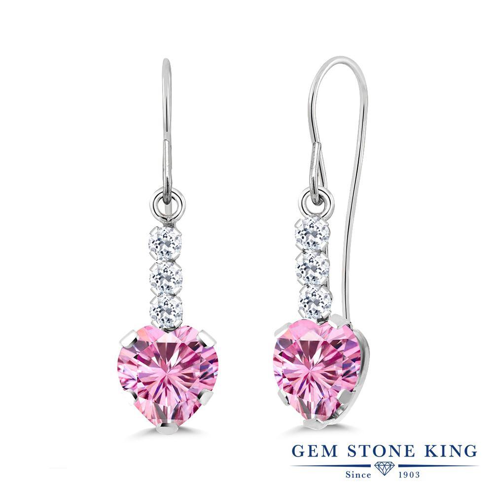 Gem Stone King 1.84カラット ピンク モアッサナイト Charles & Colvard 天然 トパーズ (無色透明) シルバー925 ピアス レディース モアサナイト ぶら下がり アメリカン 揺れる 金属アレルギー対応 誕生日プレゼント
