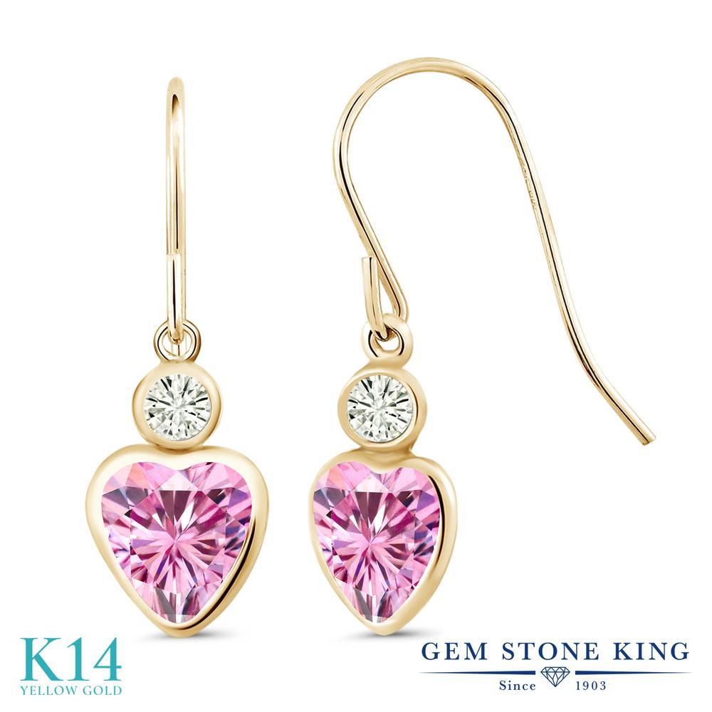 Gem Stone King 1.8カラット ピンク モアサナイト Charles & Colvard モアサナイト Charles & Colvard 14金 イエローゴールド(K14) ピアス レディース モアッサナイト フレンチワイヤー 金属アレルギー対応 誕生日プレゼント