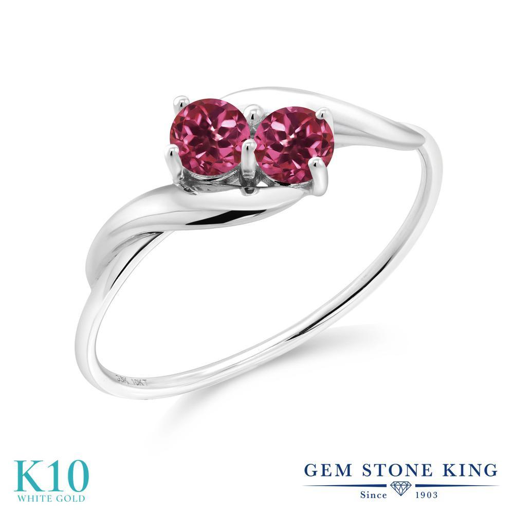 【10%OFF】 Gem Stone King 0.3カラット 天然 ピンクトルマリン 指輪 リング レディース 10金 ホワイトゴールド K10 小粒 シンプル 天然石 10月 誕生石 クリスマスプレゼント 女性 彼女 妻 誕生日