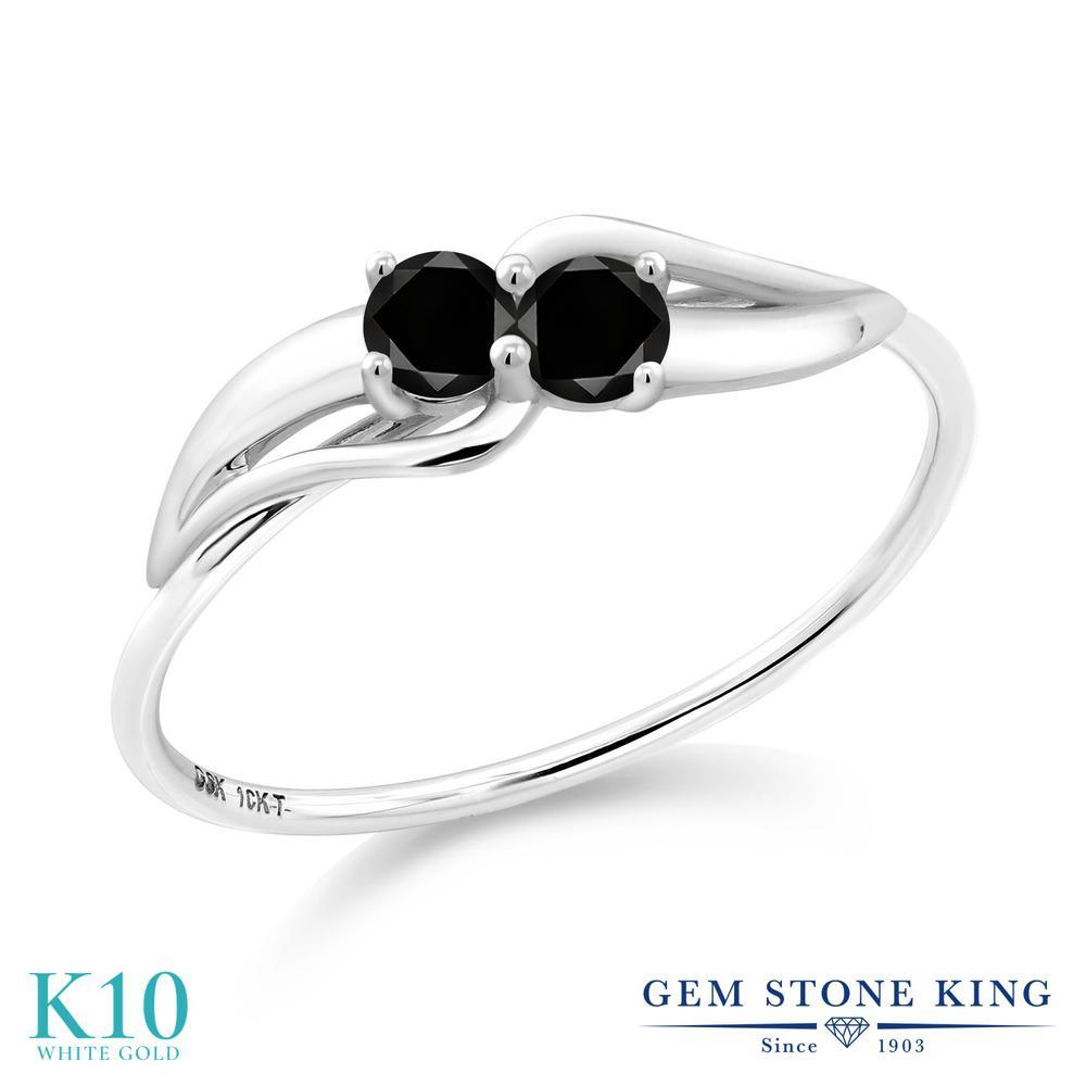 【10%OFF】 Gem Stone King 0.2カラット ブラックダイヤモンド 指輪 リング レディース 10金 ホワイトゴールド K10 ブラック ダイヤ 小粒 シンプル ダブルストーン 天然石 4月 誕生石 婚約指輪 エンゲージリング