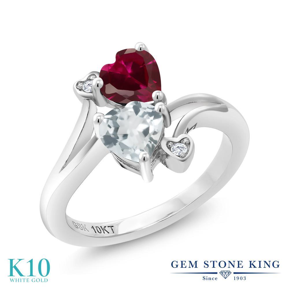 Gem Stone King 1.02カラット 合成ルビー 天然 アクアマリン 天然 ダイヤモンド 10金 ホワイトゴールド(K10) 指輪 リング レディース ダブルストーン 金属アレルギー対応 誕生日プレゼント