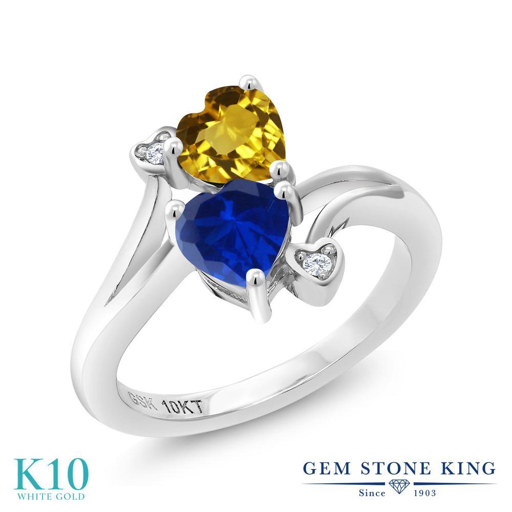 Gem Stone King 0.97カラット 天然 シトリン シミュレイテッド サファイア 天然 ダイヤモンド 10金 ホワイトゴールド(K10) 指輪 リング レディース 小粒 ダブルストーン 天然石 11月 誕生石 金属アレルギー対応 誕生日プレゼント
